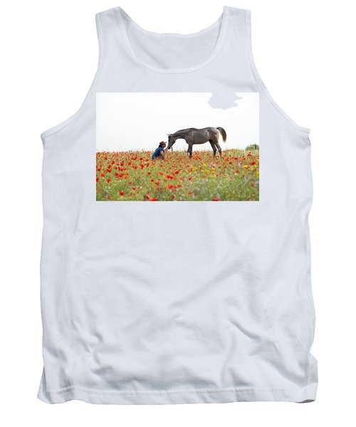 Tank Top featuring the photograph Three At The Poppies' Field... 4 by Dubi Roman