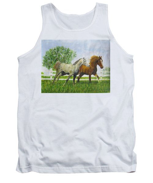 Two Horses Running By White Picket Fence Tank Top