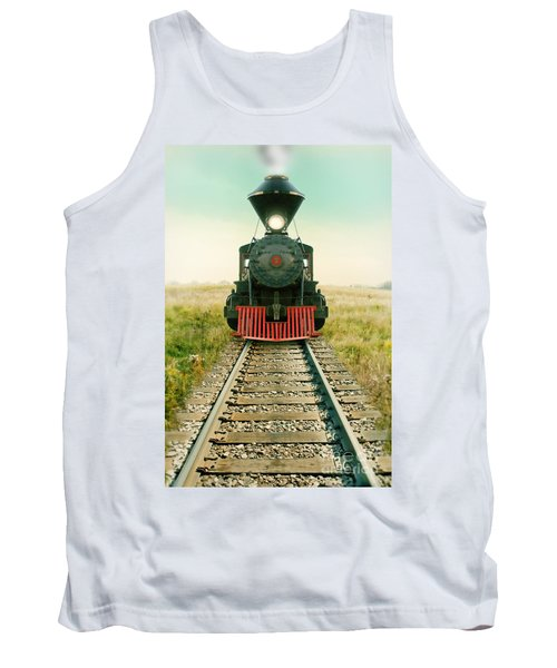 Vintage Train Engine Tank Top by Jill Battaglia