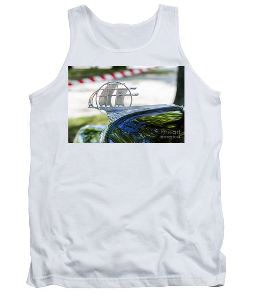 Tank Top featuring the photograph '34 Plymouth Sedan Hood Ornament by Paul Mashburn