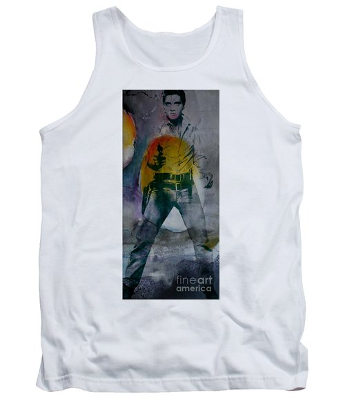 Tank Top featuring the mixed media Elvis by Marvin Blaine