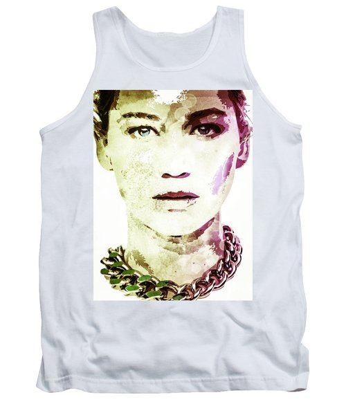 Tank Top featuring the digital art Jennifer Lawrence by Svelby Art