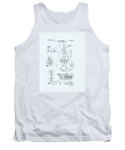 Guitar Patent Drawing On Blue Background Tank Top