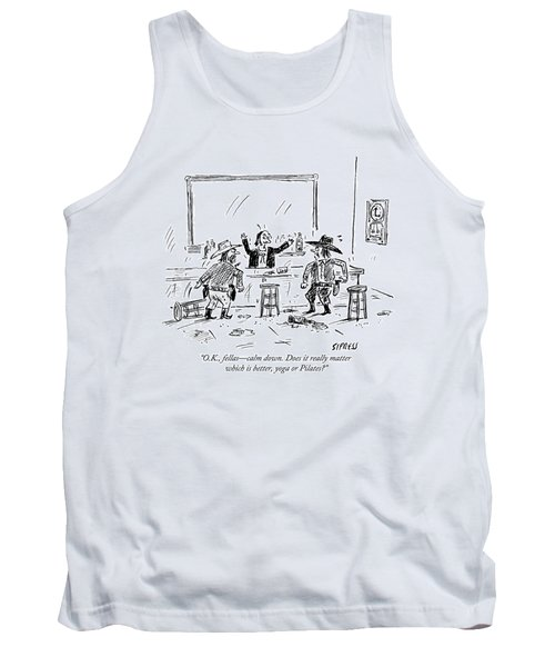 A Bartender In A Saloon Looks Alarmed As Two Tank Top