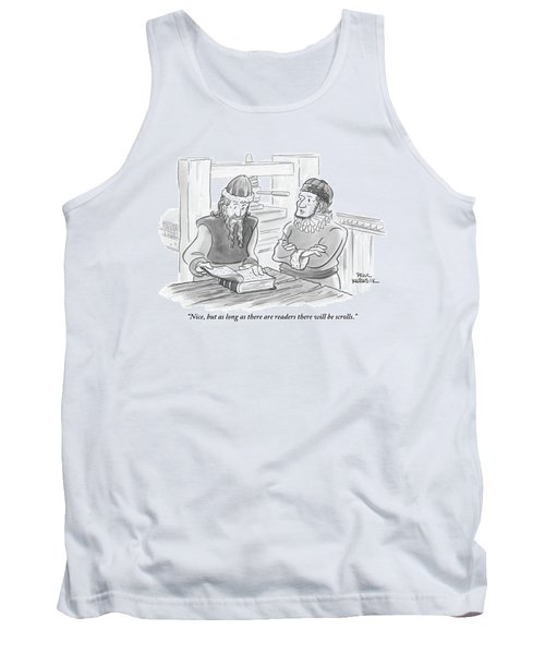 A Bearded Wise Man Looks Over A Book Tank Top