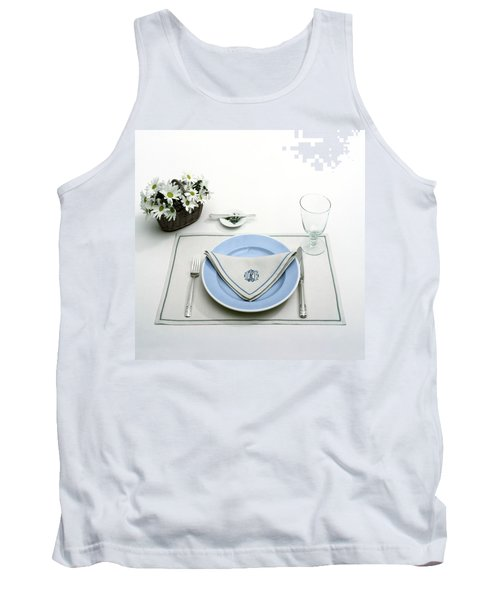 A Blue Table Setting Tank Top