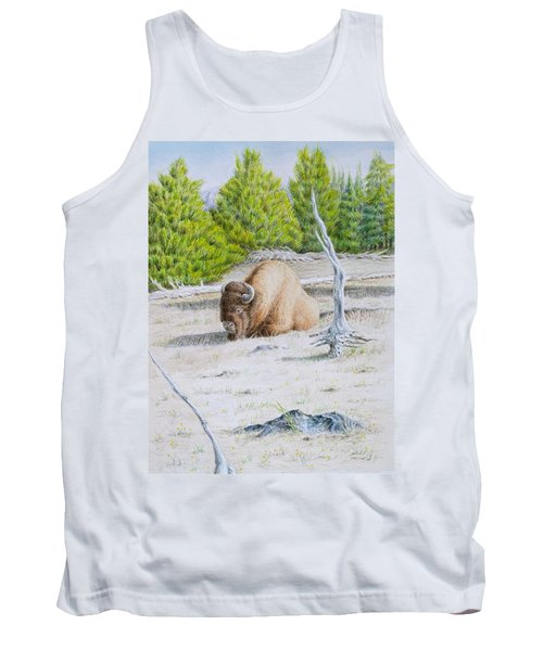 Tank Top featuring the painting A Buffalo Sits In Yellowstone by Michele Myers