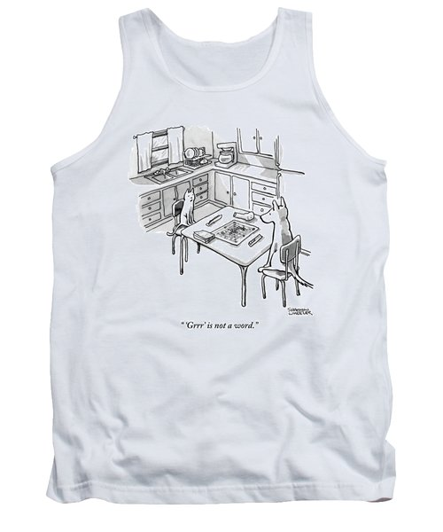 A Cat And Dog Play Scrabble In A Kitchen. 'grrr' Tank Top