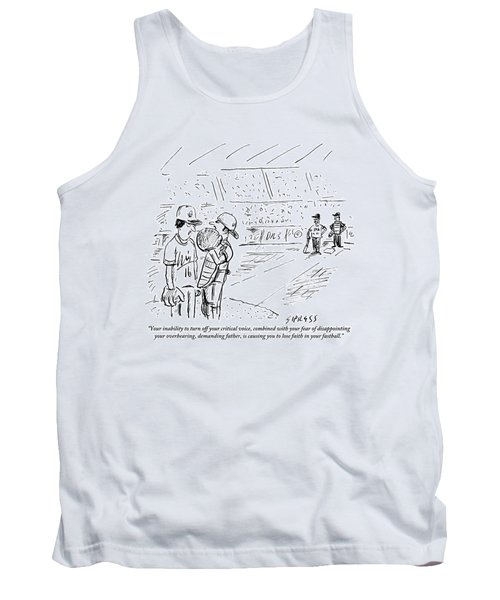 A Catcher Speaks To A Baseball Player Tank Top