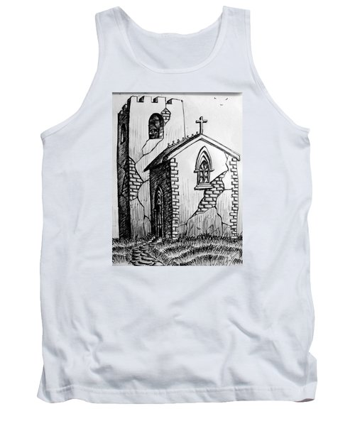 Tank Top featuring the painting Old Church by Salman Ravish