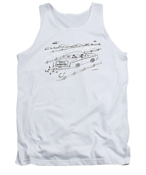 A Couple Driving A Car With A Still Married Sign Tank Top