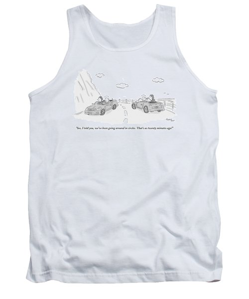 A Couple Driving In A Car Are Speaking Tank Top