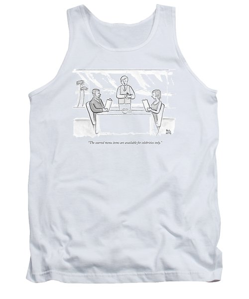 A Couple Sit At A Restaurant Table Tank Top