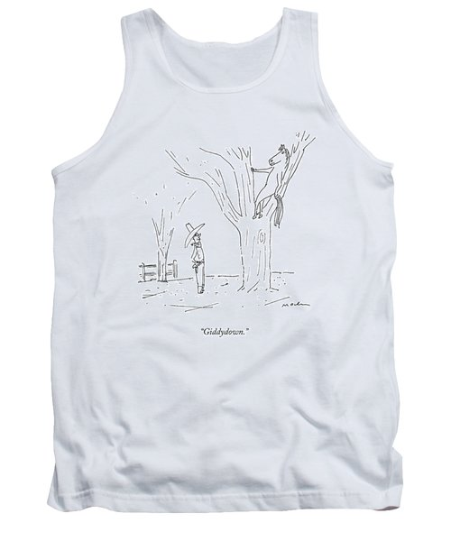A Cowboy Talks To His Horse In A Tree Tank Top