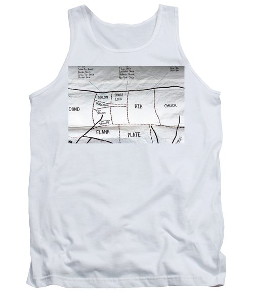 A Diagram Of Cuts Of Beef On White Tank Top