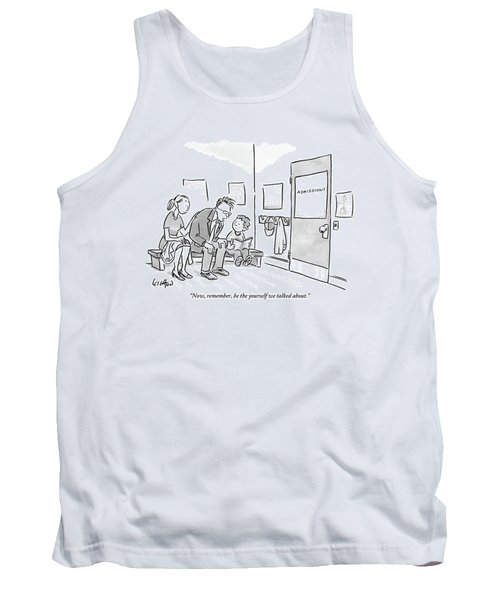 A Father Leans In To Give Advice To His Son Tank Top