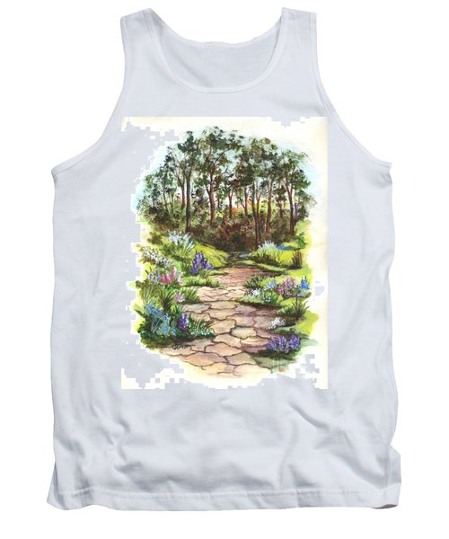 Tank Top featuring the painting Down The Garden Pathway  by Carol Wisniewski