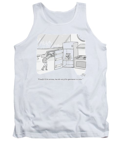 A Girl Who Is Talking On The Phone Opens A Fridge Tank Top