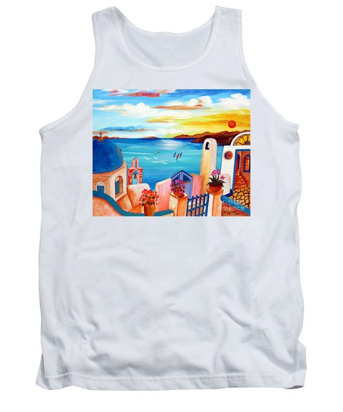 Tank Top featuring the painting A Greek Seaview by Roberto Gagliardi