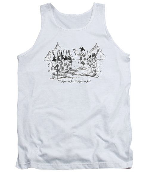 A Group Of Cavemen Gather Around A Leader Tank Top