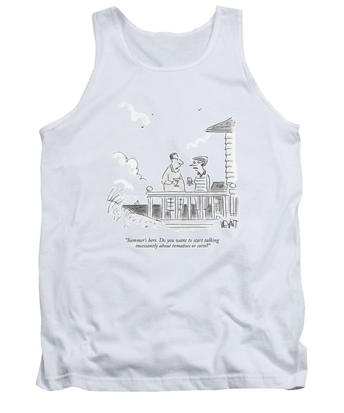 A Husband Talks To A Wife On A Porch Of A Beach Tank Top