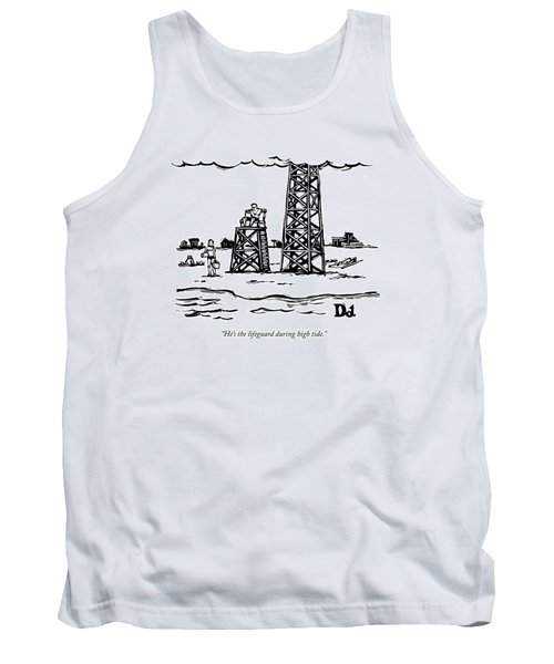 A Lifeguard Speaks To A Woman On The Beach.  Next Tank Top