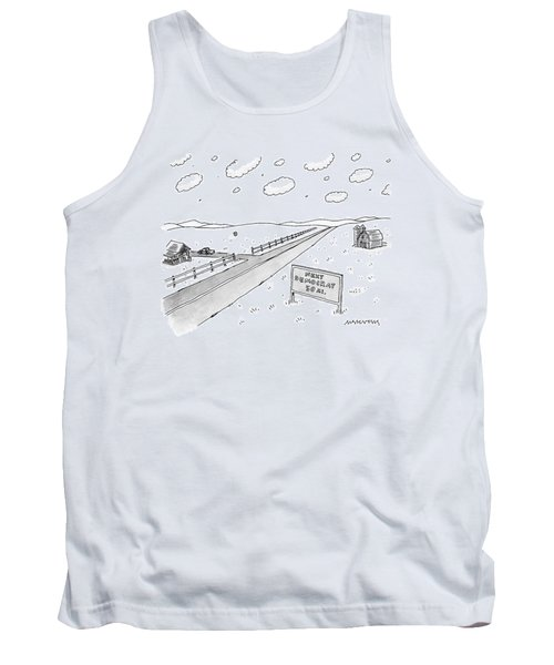 A Long, Country Road Is Pictured With A Barn Tank Top