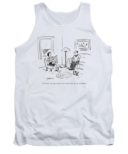 A Man And A Woman Talk In Their Living Room Tank Top