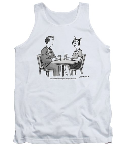 A Man And A Woman With A Cat Head Are Having Tank Top