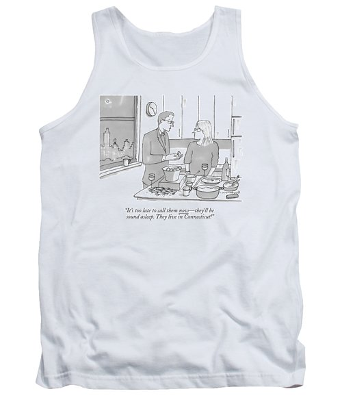 A Man And Wife Stand In The Kitchen Tank Top