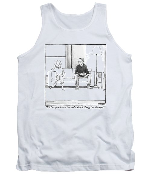 A Man And Woman Sit Next To Each Other On A Couch Tank Top