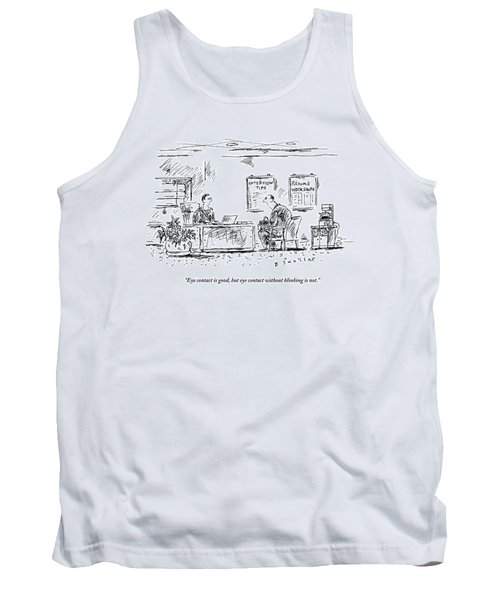 A Man Behind A Desk Gives The Man Sitting Tank Top