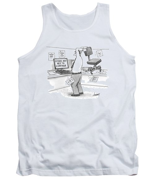 A Man In An Office Cubicle Holds A Chair Tank Top