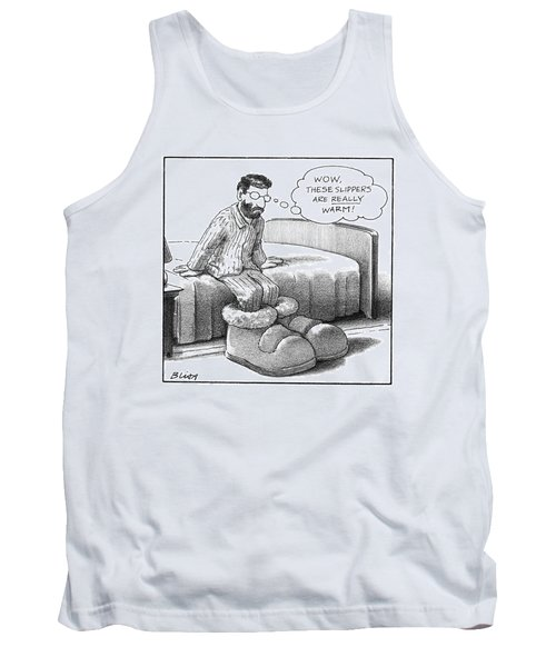 A Man In Pajamas Stepping Out Of Bed Remarks Tank Top