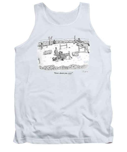 A Man Is Riding A Horse In A Competition. Tank Top