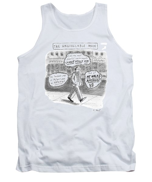 A Man Is Seen Walking Down The Sidewalk With Word Tank Top