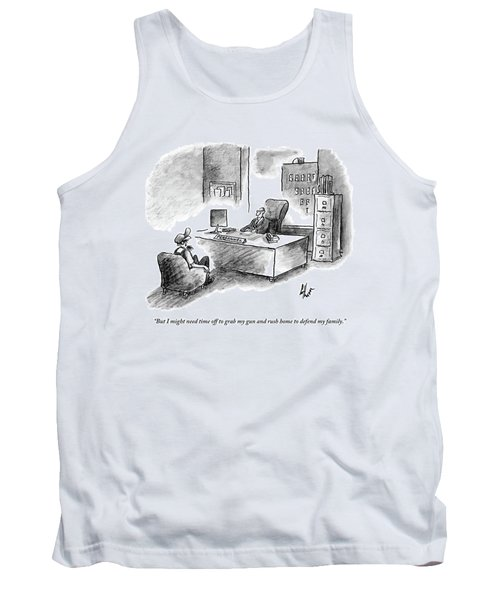 A Man Is Sitting Behind A Desk Talking To A Man Tank Top