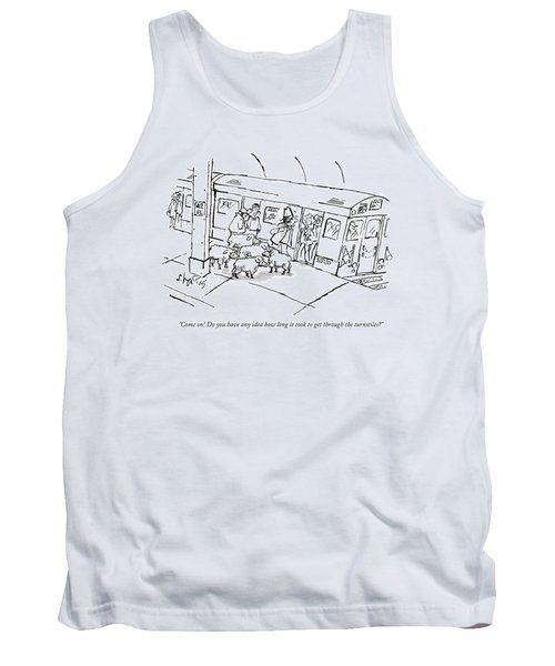 A Man On The Subway Platform With Five Sheep Tank Top