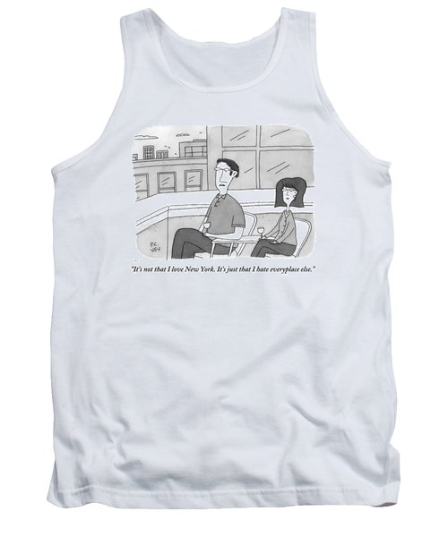 A Man Speaks To A Woman On A Balcony In The City Tank Top