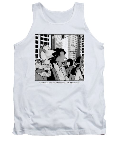 A Man Speaks To His Wife In The Midst Of New York Tank Top