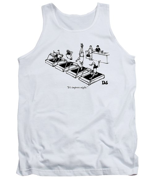 A Man Stands At The Desk Of A Gym. Four People Tank Top