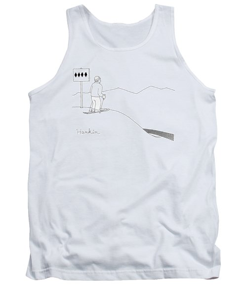 A Man Stands At The Top Of A Ski Slope Tank Top