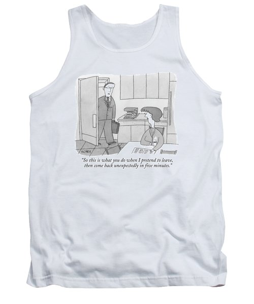 A Man Walks Into His Kitchen Tank Top
