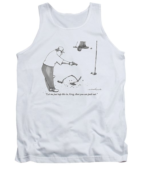 A Man With A Handgun Is Talking And Aiming Tank Top