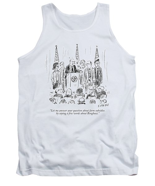 A Politician Speaks At A Podium Tank Top by David Sipress