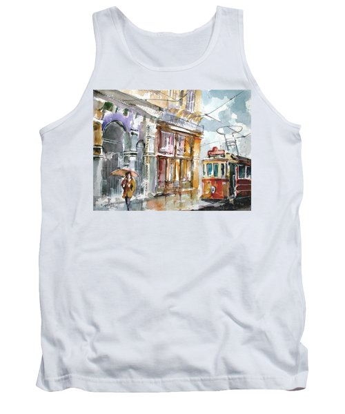Tank Top featuring the painting A Rainy Day In Istanbul by Faruk Koksal
