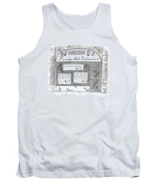 A Restaurant With Various Signs Tank Top