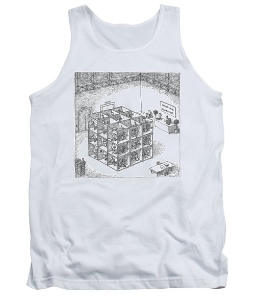 A Rubik's Cube Comprised Of Cubicles With Workers Tank Top