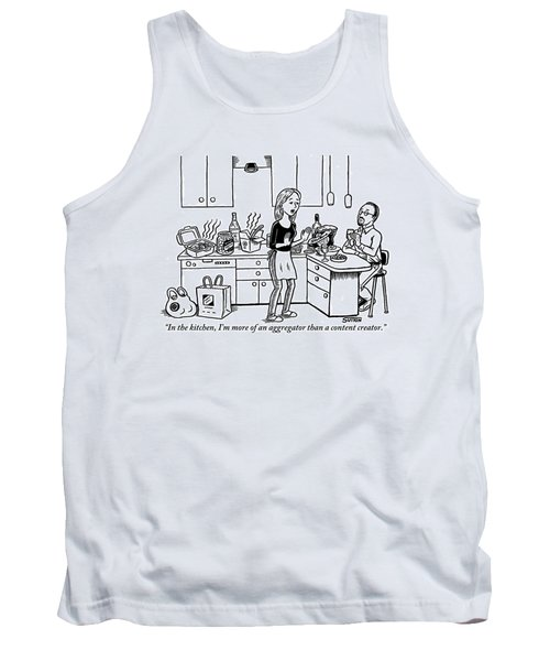 A Stressed-out Looking Woman Wearing An Apron Tank Top