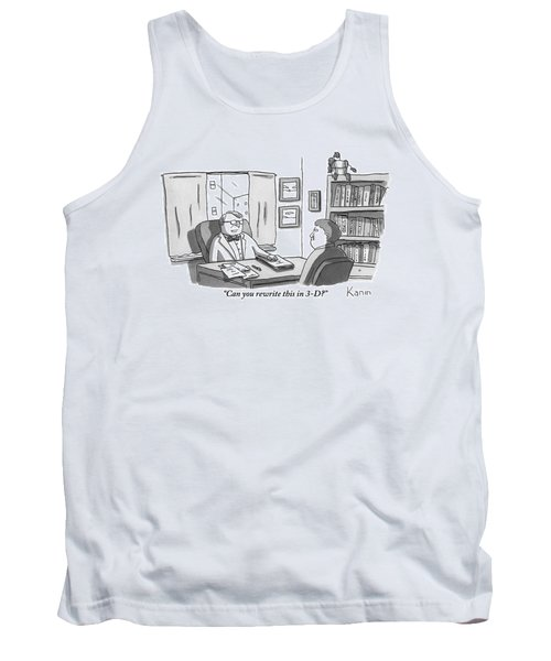 A Suited Man Behind A Desk Addresses A Writer Tank Top